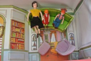 Vintage Ideal Vinyl Princess Patti Dollhouse w Furniture Family Figures
