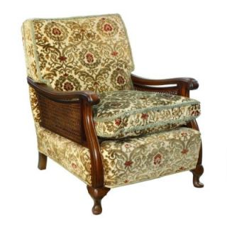 Queen Anne Revival Art Deco Carved Walnut Bergere Cane Armchair Chair X