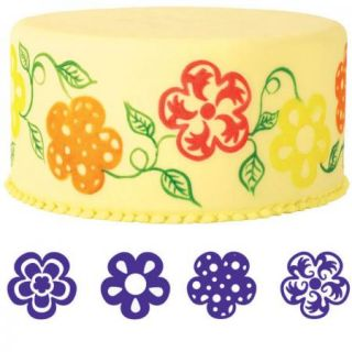 Wilton 4pc Flower Cake Cookie Stamp Set New