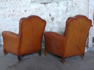 Stunning Pair Antique Art Deco French Leather Cloud Back Club Arm Chairs