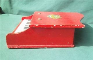 Vintage Angel Baby Grand Piano Toy Red 12 Key Miniature Wooden