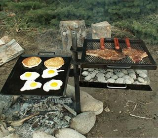 Mountain Man Grill Griddle Camping Charcoal Open Wood Fire Chuck Wagon Camp New
