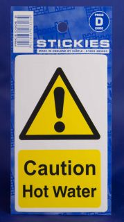 Caution Hot Water Yellow Warning Sticker House Sink Car Message Rectangular