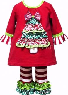 "New Baby Girls ""Christmas Ruffle Tree"" Outfit Size 12M Clothes Custom Look"