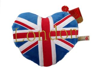 Keel Toys 30cm Heart Shape London Union Jack Soft Plush Sofa Pillow Cushion