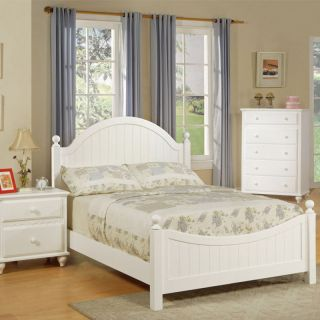 Exquisite Youth Kids Girls Cottage Style White Bead Board Wood Full Panel Bed