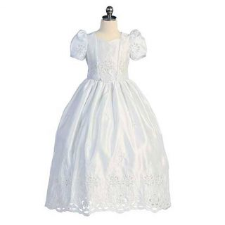 Chic Baby Girls 14 White Puff Sleeve Cutout Communion Dress