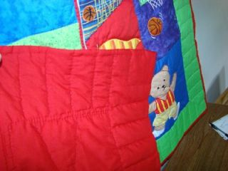 "Hand Quilted ""Teddy Bear Sports"" Baby Crib Wall Quilt"