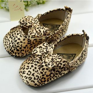 Y047 Beautiful Cute Bow Leopard Pattern Infant Baby Toddler Shoes 3 Sizes