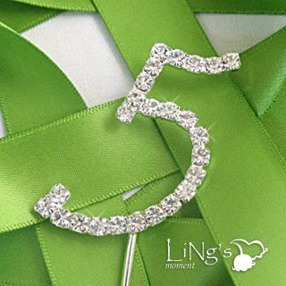 Monogram Number Silver Diamante Wedding Party Cake Cupcake Topper Decoration 0 9