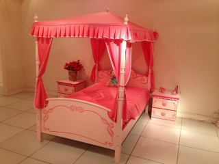 Girls Pink Princess King Single Size Bed with Canopy