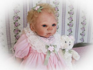 Reborn Baby Doll Sweet Baby Girl with Micro Rooted Human Hair Adrie Stoete