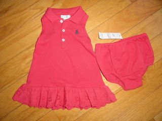 Polo Ralph Lauren Baby Infant Girl Girls 2 PC Cotton Knit Dress 6M