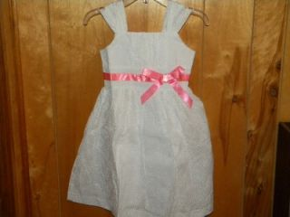 Avon Girls Eyelet Summer Dress w Coral Color Ribbon New