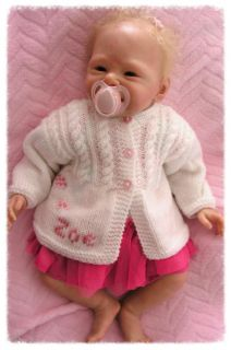 Personalised Gift Any Name Hand Knitted Baby Girl Boy Cardigan Coat Christening