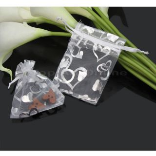 50x Nice Organza Wedding Party Candy Chocolate Gift White Hearts Pouch Xmas Bags