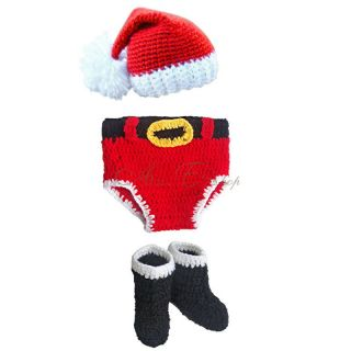 3pc Baby Girl Boy Infant Christmas Santa Hat Pants Boots Crochet Prop Outfit New