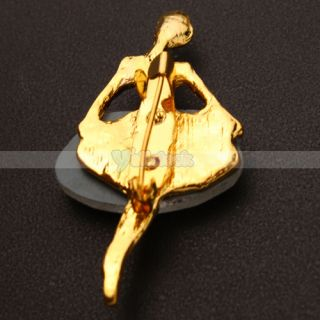Stylish Ballet Girl Rhinestone Brooch Pin Alloy Rhinestone Golden White Color