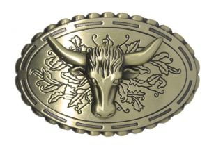 Mens Western Cowboy Cow Ox Horn Bull Head with Flower Background Belt Buckle