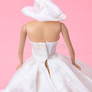 Princess Wedding Party Holiday Clothes Gown Dress w Hat for Barbie Doll White