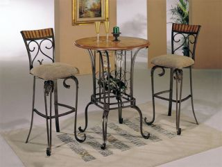 Black Metal Cherry 3 PC Pub Table Set
