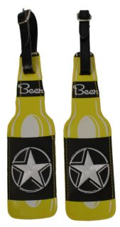 Lot of 2 Bright Yellow Easy to Spot Beer Bottle Shaped Luggage Tags