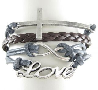Mix Antique Silver Infinity Love Cross Charms Leather Wrap European Bracelet
