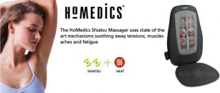 Homedics Shiatsu Body Back Massager Heat Massage Cushion Pain Stress Relief New