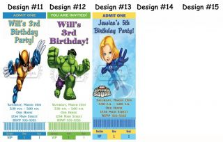 Marvel Super Hero Squad Birthday Party Ticket Invitations Supplies Favors