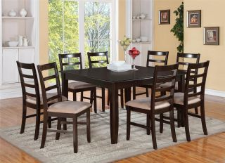7 PC Square Dinette Kitchen Dining Table Set 6 Cushion Chairs Seat in Cappuccino