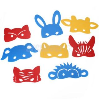 8 Pcs Kids DIY Animal Face Masks Domino Costume Prop