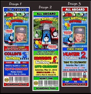 Thomas The Train Tank Birthday Party Ticket Invitations