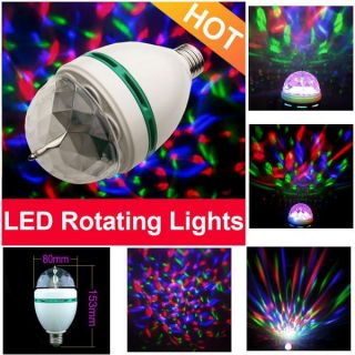 E27 RGB Crystal Magic Ball Stage Lights LED Rotating Lamp for Party Disco DJ Bar