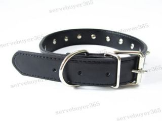 Leather Studded Spiked Metal Buckle Neckband Adjustable Pet Dog Collar Black
