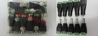 5pairs CAT5 to BNC Coaxial Video Balun Male Female DC Power Connectors
