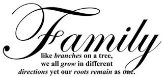 Family Like Branches on A Tree We Grow Vinyl Decal Sticker Wall Art Home Decor