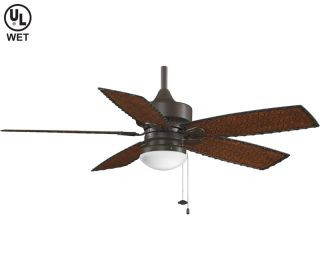 "Fanimation 52"" Cancun Oiled Bronze Outdoor Wet Ceiling Fan FP8016OB CFM 5505"