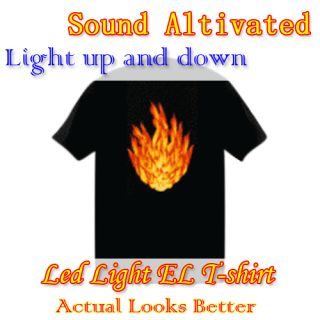 Flame Sound Activated Light Up and Down with Music High Low Light LED El T Shirt