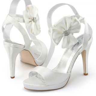 Womens Ivory Satin Flower Platform Sandals Bridal Bridesmaid Wedding Prom Shoes