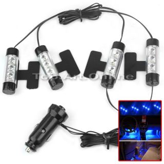 4X 3 LED Car Charge 12V Glow Interior Decorative 4in1 Atmosphere Light Lamp Blue