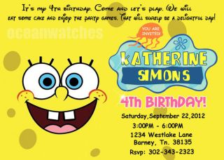 Spongebob Squarepants Birthday Party Invitations Invites Personalized 1st New