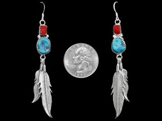 Navajo Earrings Turquoise Coral Sterling Silver Feathers Big Native American