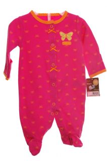 Carters Baby Infant Girls Pink Butterfly Sleep Play Sleeper PJ Size NB New