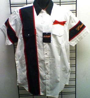 Budweiser Beer Dress Shirt Short Sleeve Black Red White Mens Adult Size Medium M
