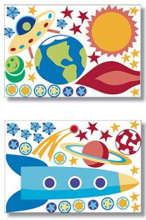 Outer Space Murals Rocket SHIP Out of This World Olive Kids Wall Stickers Decals