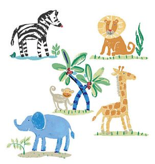 Jungle Animals Safari Lions Elephants Monkey Zebra Giraffe 25 Wallies Stickers