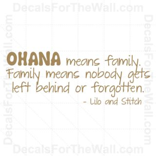Lilo and Stitch Ohana Family Disney Wall Decal Vinyl Sticker Quote Saying B85
