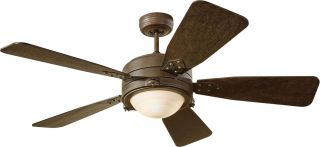 "Monte Carlo 5VIR52RND Industrial 52"" Ceiling Fan w Light Wall or Remote Ctrl"