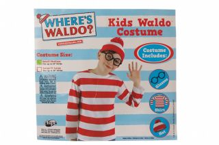 Wheres Waldo Book Character Boys Costume Small Medium Shirt Hat Glasses Fun New