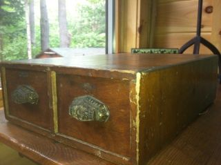 Antique Vintage Old Wood File Box Index Card Drawer Cabinet